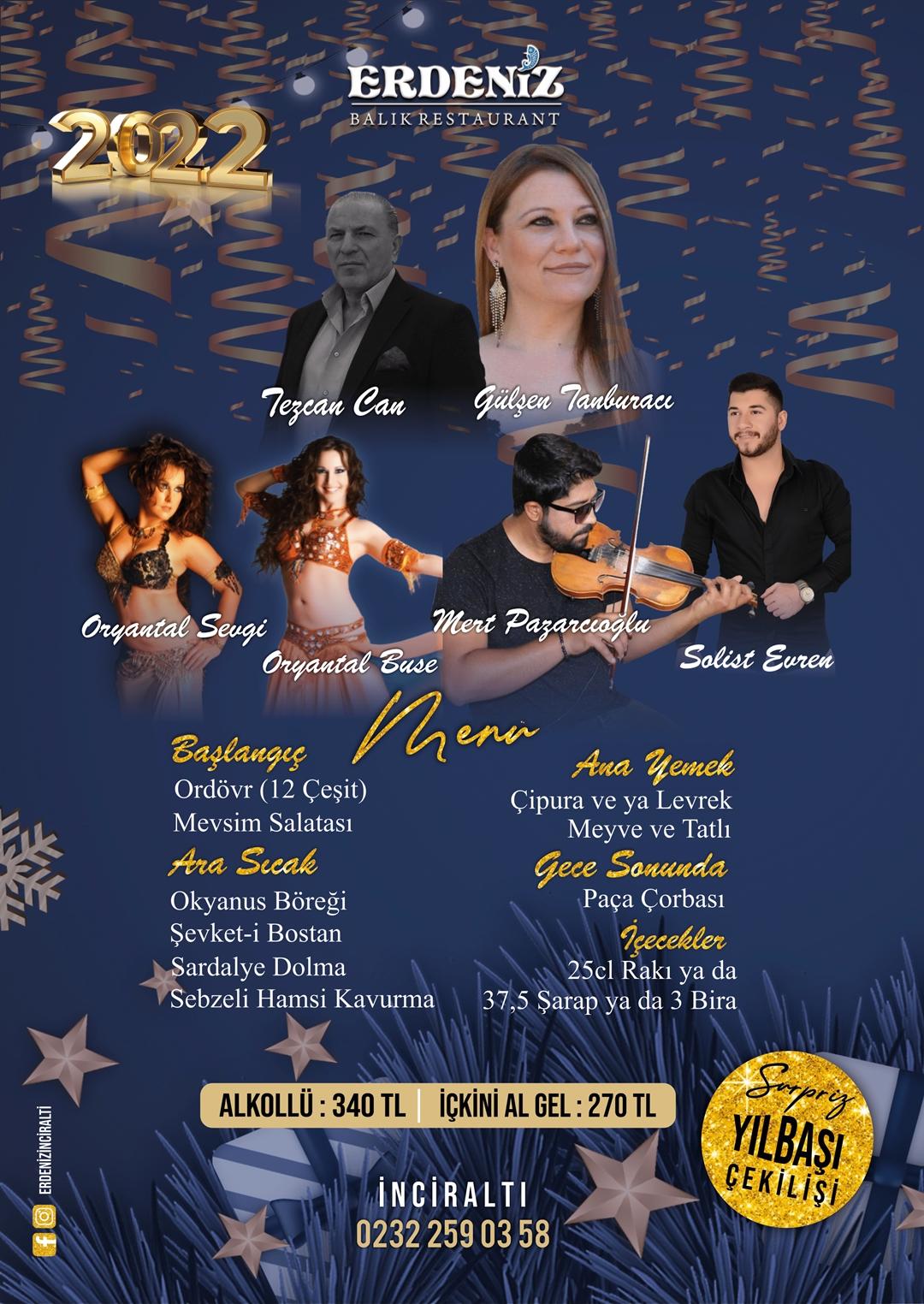 Erdeniz Restaurant İnciraltı Yılbaşı Programı 2020