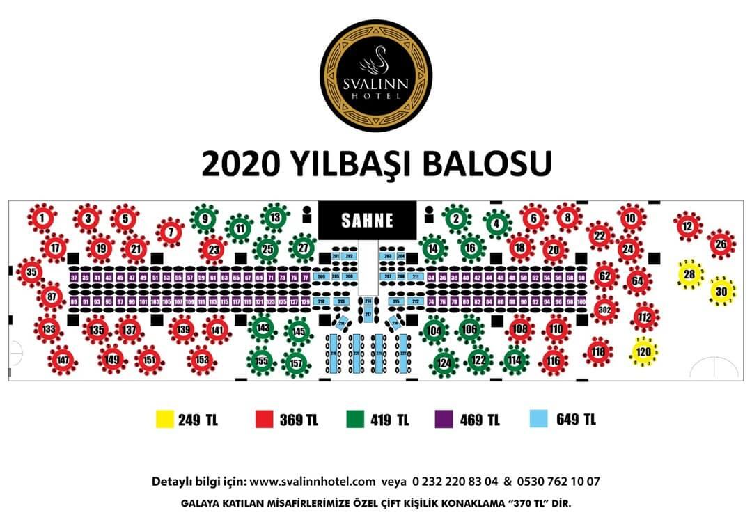 Svalin Hotel Yılbaşı Galası Oturma Düzeni